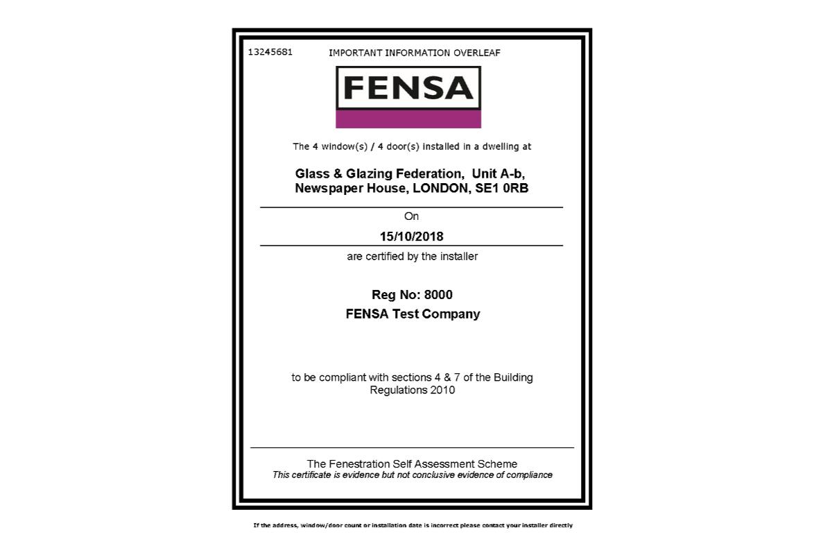 Fensa Certificate